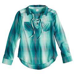 Girls 7-16 & Plus Size Mudd® Lace-Up Popover Chambray Shirt