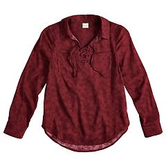 Girls 7-16 & Plus Size Mudd® Lace-Up Popover Chambray Shirt