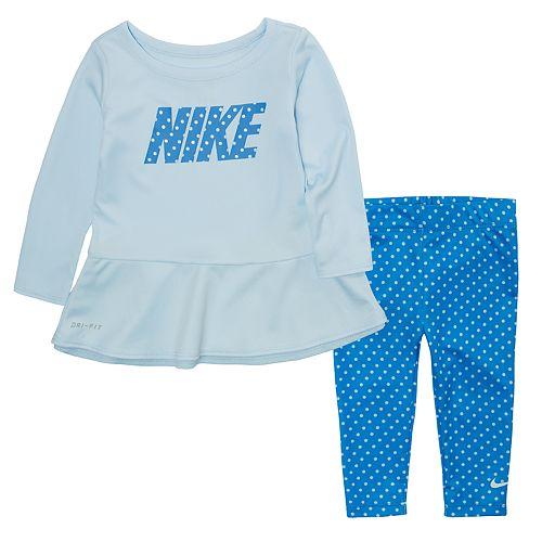bf722bbdc060 Baby Girl Nike Dri-FIT Peplum Tunic   Leggings Set