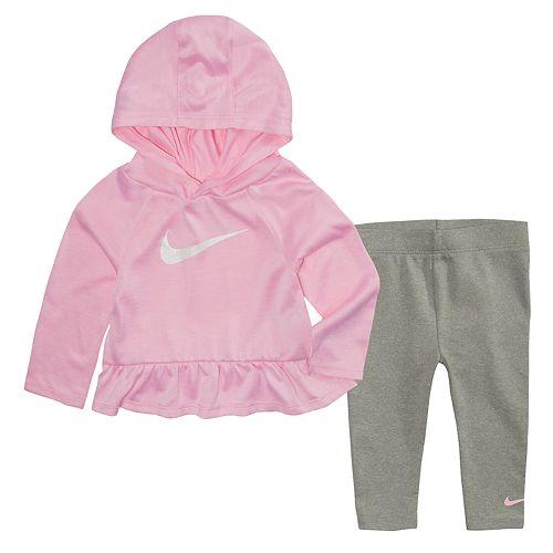 b5af2e581 Baby Girl Nike Dri-FIT Hooded Peplum Top & Leggings Set