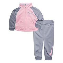 Baby Girl Nike Pink & Gray Jacket & Pants Track Suit Set