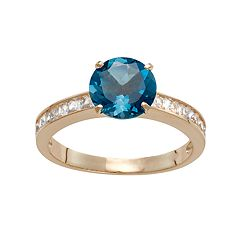 10k Gold London Blue Topaz & Lab-Created White Sapphire Ring