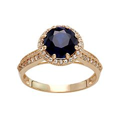 10k Gold Lab-Created Blue & White Sapphire Halo Ring