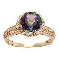 10k Gold Mystic Topaz & Lab-Created White Sapphire Halo Ring