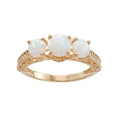 10k Gold Lab-Created Opal & White Sapphire 3-Stone Ring