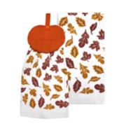 Celebrate Fall Together Pumpkin Tie-Top Kitchen Towel 2-pack