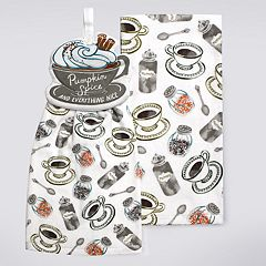 Celebrate Fall Together Pumpkin Spice Tie-Top Kitchen Towel 2-pack