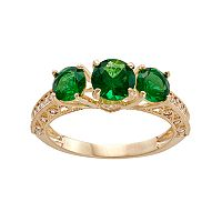 10k Gold Simulated Emerald & Lab-Created White Sapphire 3-Stone Ring
