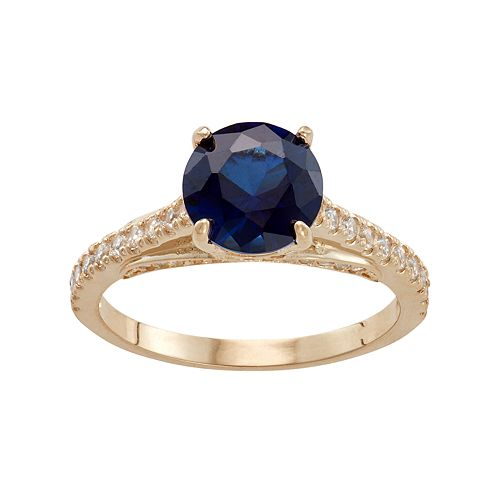 10k Gold Lab-Created Blue & White Sapphire Ring
