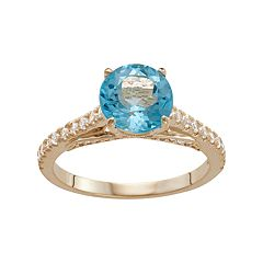 10k Gold Swiss Blue Topaz & Lab-Created White Sapphire Ring