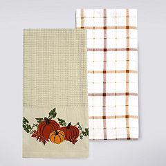 Celebrate Fall Together Pumpkin Waffle Kitchen Towel 2-pack