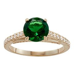 10k Gold Simulated Emerald & Lab-Created White Sapphire Ring