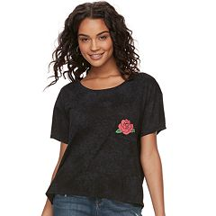 Juniors' Grayson Threads Rose Pocket Mineral Wash Boxy Tee