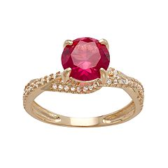 10k Gold Lab-Created Ruby & White Sapphire Crisscross Ring