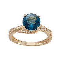 10k Gold London Blue Topaz & Lab-Created White Sapphire Crisscross Ring