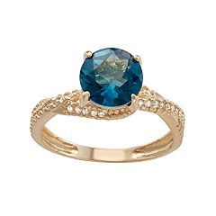 10k Gold London Blue Topaz & Lab-Created White Sapphire Crisscross Ring