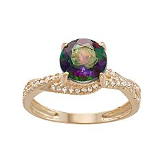 10k Gold Mystic Topaz & Lab-Created White Sapphire Crisscross Ring