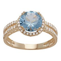 10k Gold Lab-Created Aquamarine & White Sapphire Halo Ring