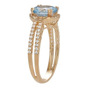 10k Gold Lab-Created Aquamarine & White Sapphire Halo Ring