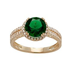 10k Gold Simulated Emerald & Lab-Created White Sapphire Halo Ring
