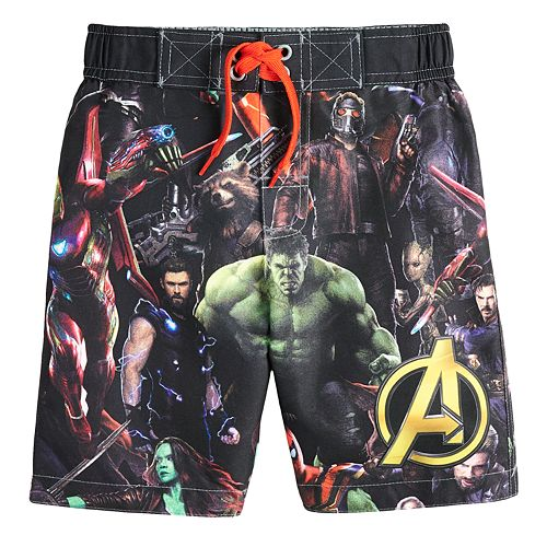 Boys 4-7 Avengers Hulk, Thor & Guardians of the Galaxy Swim Trunks