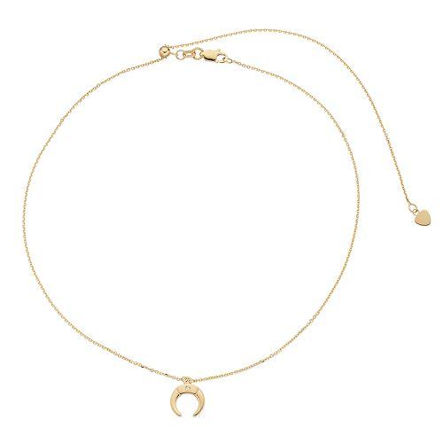 14k Gold Diamond Accent Crescent Pendant Necklace