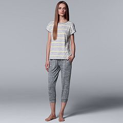 Women's Simply Vera Vera Wang Striped Tee & Joggers Pajama Set