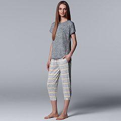 Women's Simply Vera Vera Wang Striped Tee & Joggers Pajama Set