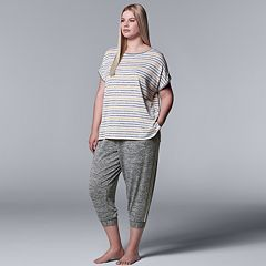 Plus Size Simply Vera Vera Wang Striped Tee & Joggers Pajama Set