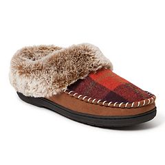 Women's Dearfoams Plaid Whipstitch Trim Clog Slippers