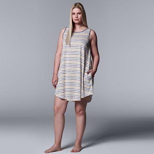 d75ac9ce5d2 Plus Size Simply Vera Vera Wang Striped Chemise