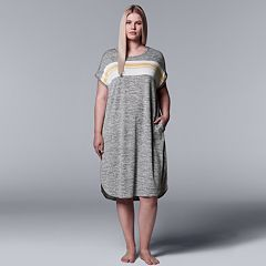 Plus Size Simply Vera Vera Wang Striped Panel Sleepshirt