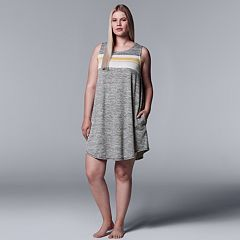 Plus Size Simply Vera Vera Wang Striped Panel Chemise