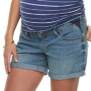 Maternity a:glow Inset Elastic Panel Cuffed Jean Shorts