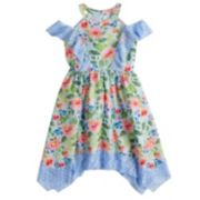 Girls 7-16 Lavender Floral Print Chiffon Ringer Dress