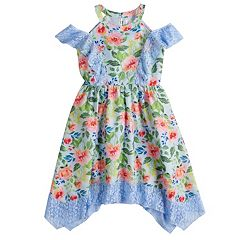 Girls 7-16 Lavender Floral Print Chiffon Ringer Dress