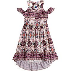Girls 7-16 Lavender Cold Shoulder Twin Print Dress