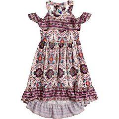Girls 7-16 Lavender Cold Shoulder Twin Print Dress