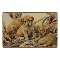 Brumlow Mills Corn Dogs Golden Retriever Puppies Printed Rug
