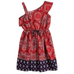 Girls 7-16 Lavender One Shoulder Bandana Print Dress