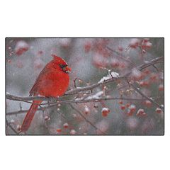 Brumlow Mills Male Cardinal Winter Bird Printed Rug