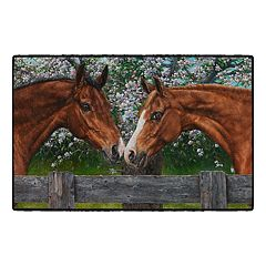 Brumlow Mills A Blossoming Friendship Horses Printed Rug