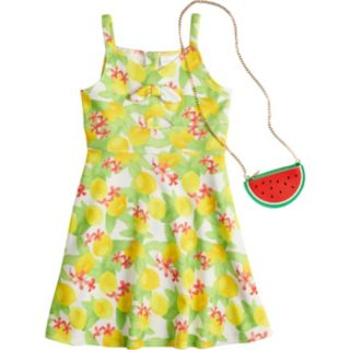 Girls 7-16 Lavender Pique Knit Print Dress with Purse