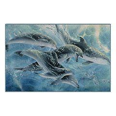 Brumlow Mills Playful Passage Dolphins Printed Rug