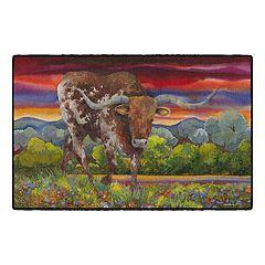 Brumlow Mills Bevo & Blue Bonnet Cow Printed Rug