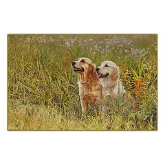 Brumlow Mills A Field Day Golden Retrievers Printed Rug