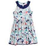 Girls 7-16 Lavender Sleeveless Ringer Floral Print Reversible Dress