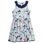 Girls 7-16 Lavender Sleeveless Ringer Floral Print Reversible Dress