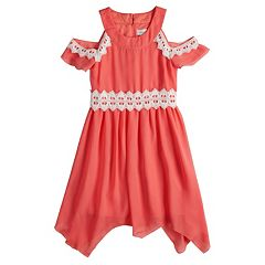 Girls 7-16 Lavender Cold Shoulder Lace Trim Dress