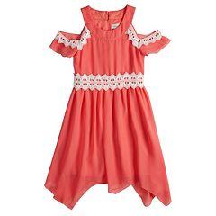 Girls 7-16 Lavender Cold Shoulder Lace Trim Dress